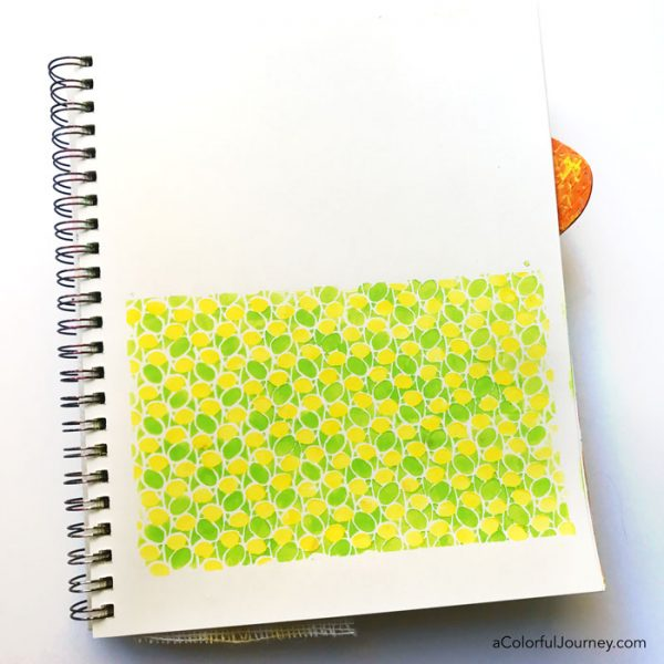 A Layered Stencil Pattern and Using deli paper in an art journal tutorial by Carolyn Dube