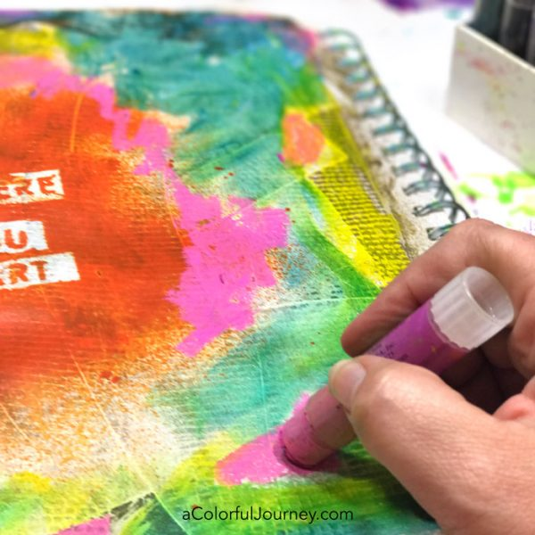 Sealing gelatos in an art journal video by Carolyn Dube