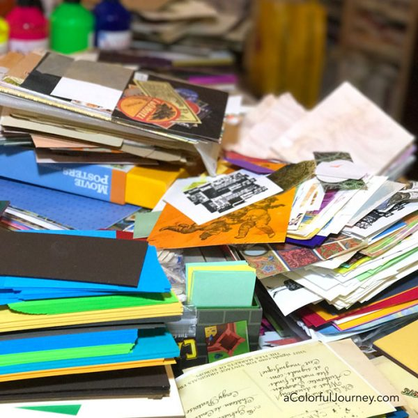 The process of purging my art studio, getting rid of unused supplies, and finding a few messages along the way by Carolyn Dube