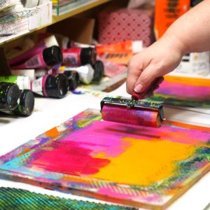 Print it. Make it. Love it. Gel printing retreat with Carolyn Dube and Kari McKnight Holbrook