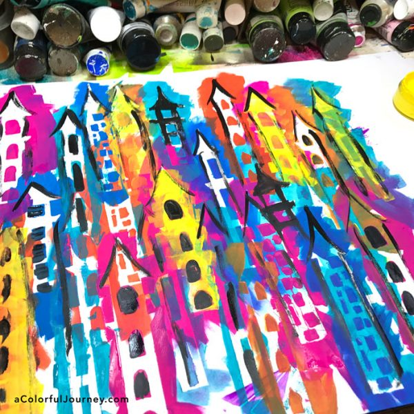 Layers of castle stencils tutorial and the 3 second rule by Carolyn Dube