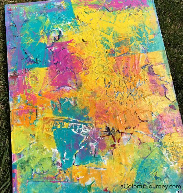 Taking an old canvas I didn't like and adding the rainbow to it!