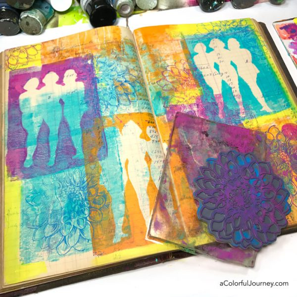 Gel printing in a vintage ledger as an art journal with stencils video tutorial by Carolyn Dube