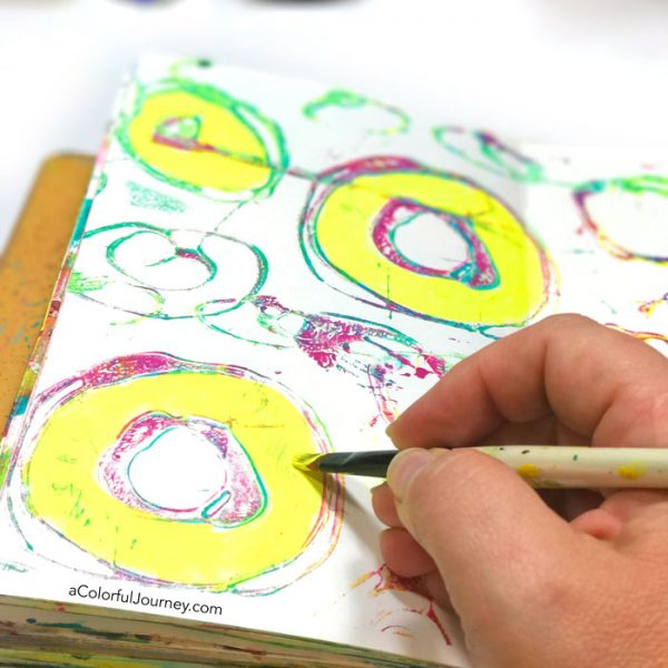 The art journal page that started as a gel print- video by Carolyn Dube