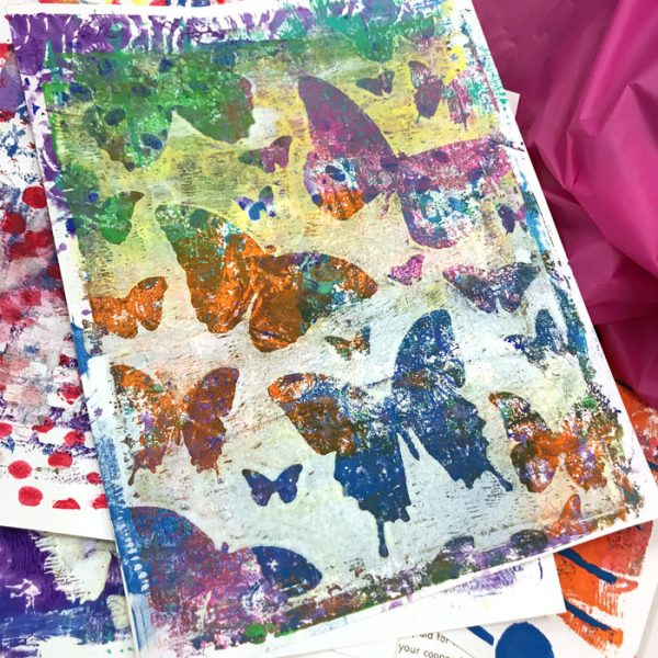 Jumping into Gel Printing with Stencils workshop with Carolyn Dube