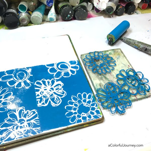 Gel printing in an art journal and making clean up prints on envelopes plus how to use watercolor pencils to add the rainbow video tutorial by Carolyn Dube