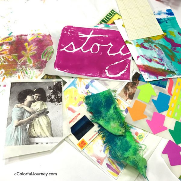 That perfect project never came as I played in my art journal with gelatos and hoarded collage goodies.