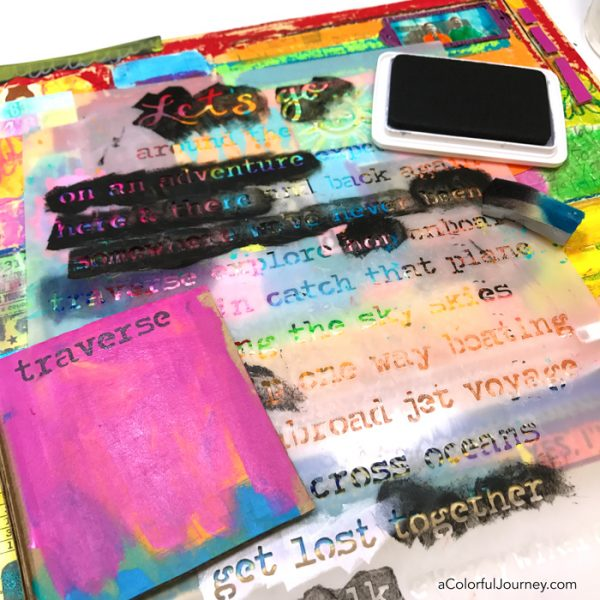 Using stencils in a mixed media collage by Carolyn Dube