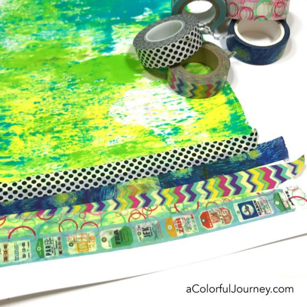 Washi Tape & How to Freak out the Supply Hoarder in You video by Carolyn Dube using Gelatos and a StencilGirl stencil mask set