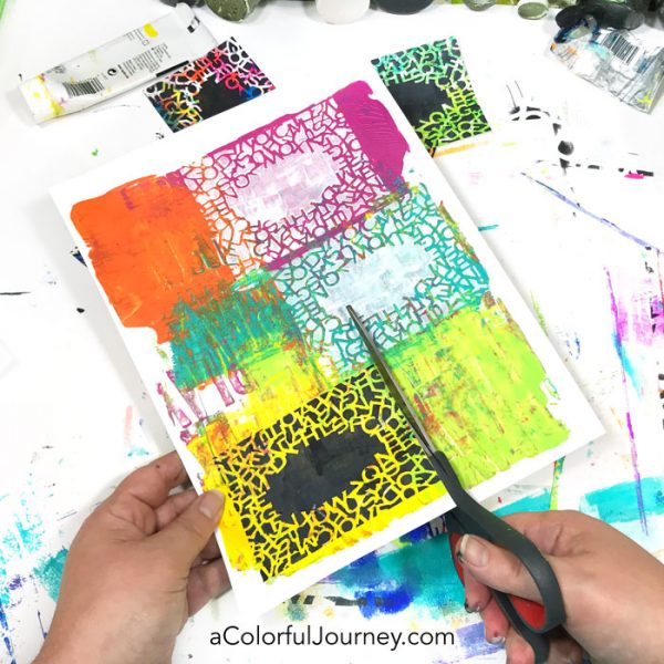 What can you do with gel prints? One thing is making quick cards with a stencil! Video tutorial by Carolyn Dube