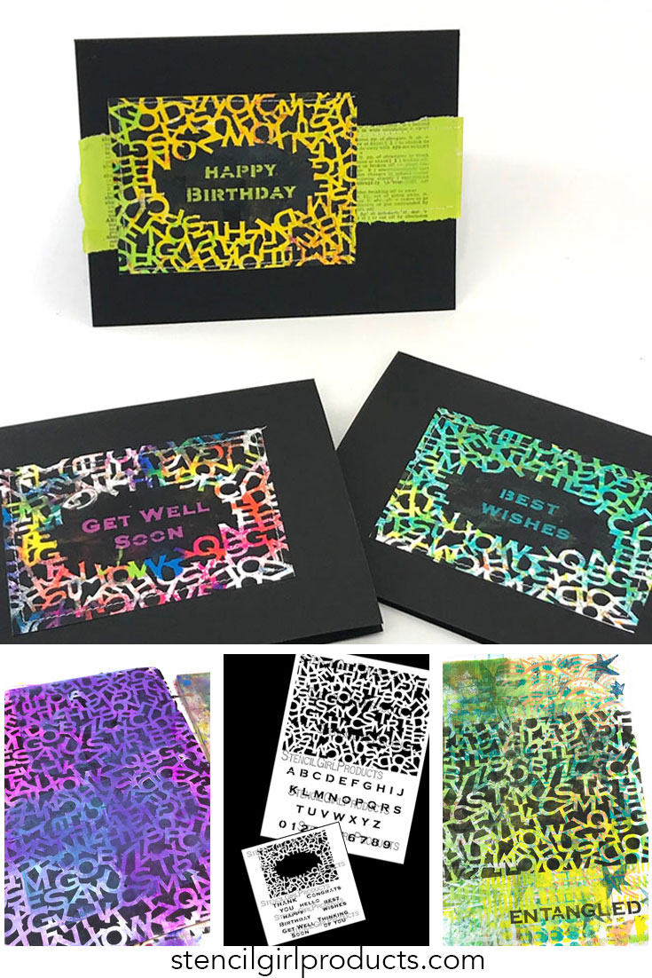 Alpha Jumble stencils by Carolyn Dube at StencilGirlProducts.com