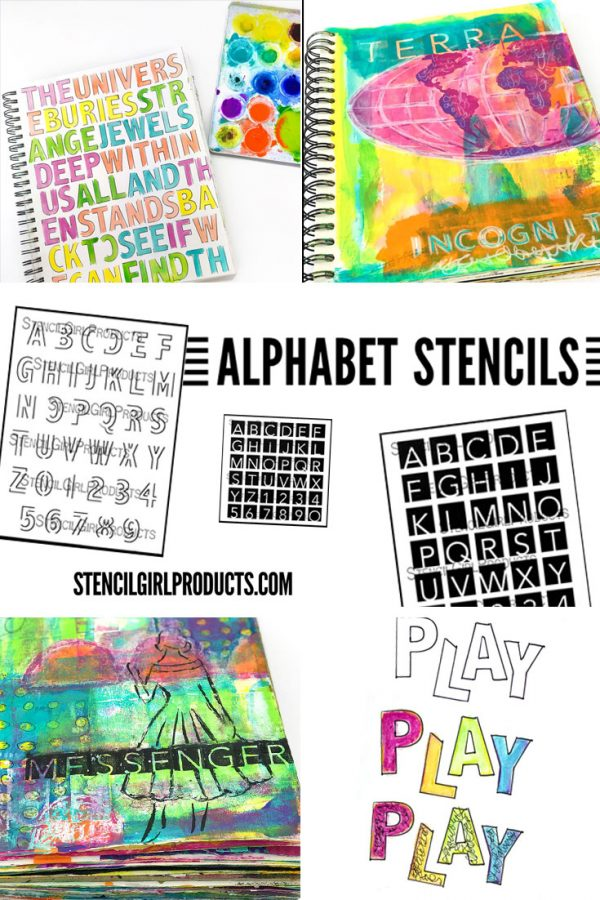 Alphabet stencils by Carolyn Dube for StencilGirlProducts.com