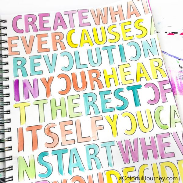 How to Stencil a Quote, from Elizabeth Gilbert, with a Pen in an Art Journal video tutorial by Carolyn Dube using a StencilGirl stencil, QoR watercolors, and a Pitt Pen