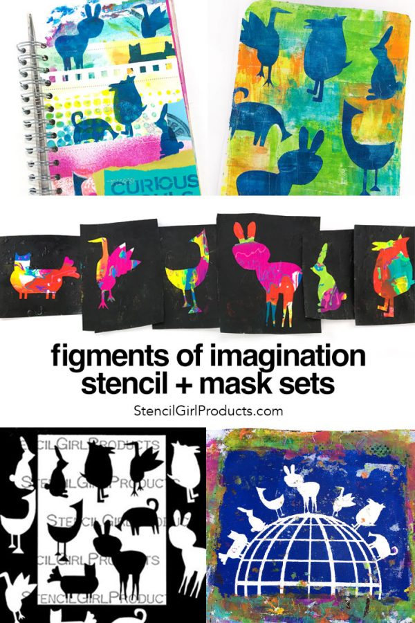 Figments of Imagination whimsical creatures stencil by Carolyn Dube for StencilGirlProducts.com