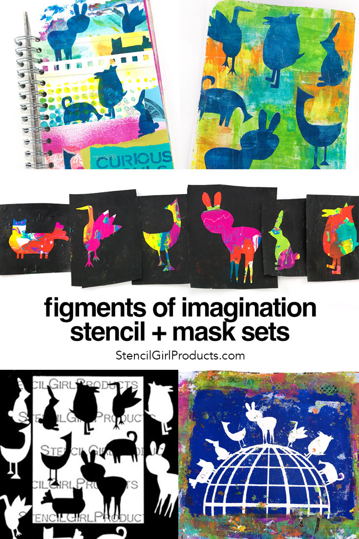 Figments of Imagination stencil and masks sets by Carolyn Dube at StencilGirlProducts.com