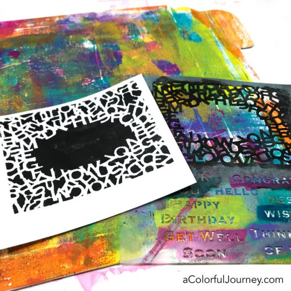 Making a plain envelope colorful with a gel plate, Paper Artsy paints, and StencilGirl stencils video by Carolyn Dube