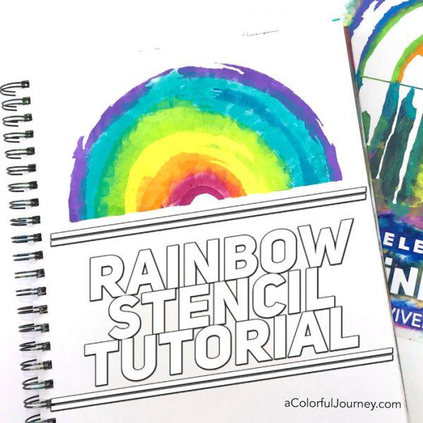 Rainbow stencil video tutorial by Carolyn Dube