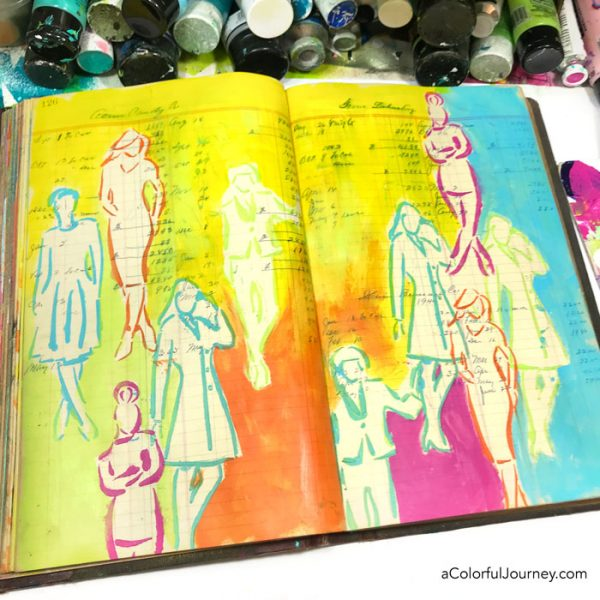 Using a stencil to create sketchy women in an art journal video by Carolyn Dube