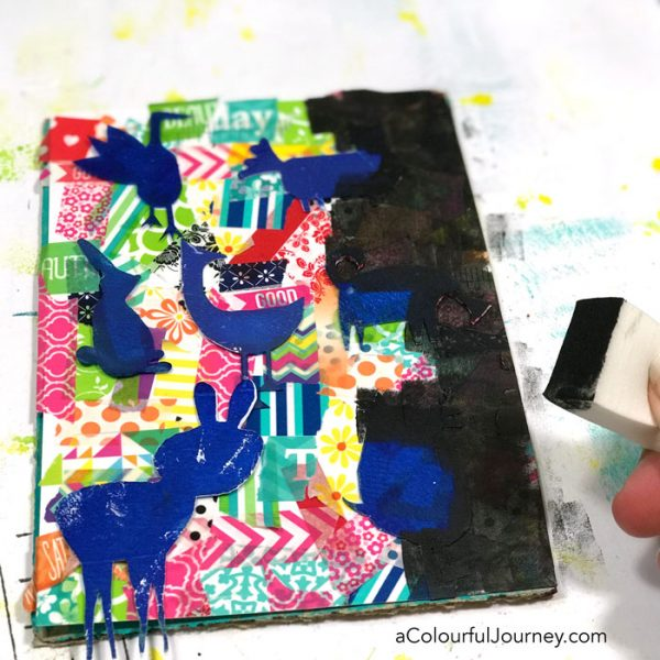 Washi tape and stencils to create a playful frame video loaded with mixed media techniques by Carolyn Dube