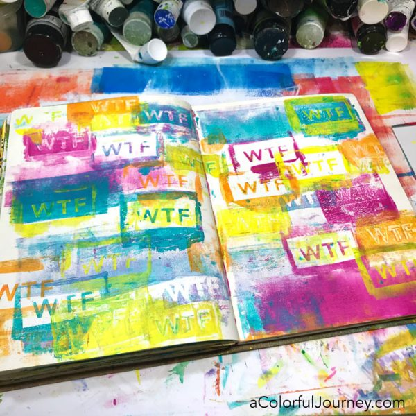 Image transfer cheat in an art journal plus a gel printing the colorful background video by Carolyn Dube