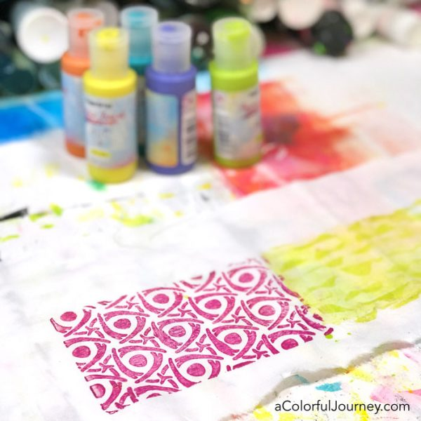 Making a Skirt for the Elf on The Shelf with Gel Printed Fabric and glue by Carolyn Dube