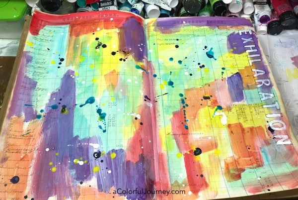 Splattering Pam Carriker paints and a quick stenciled title in a vintage art journal video by Carolyn Dube