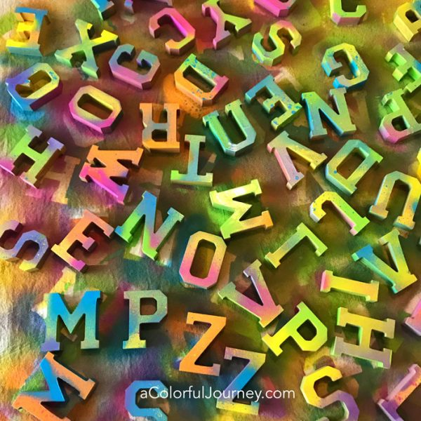 rainbow colored wooden letters