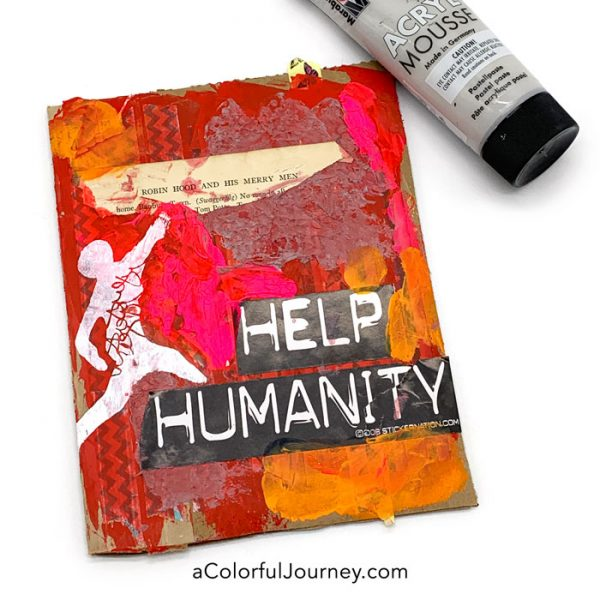 Art journaling on cardboard with StencilGirl stencils and Marabu mousse #artplay