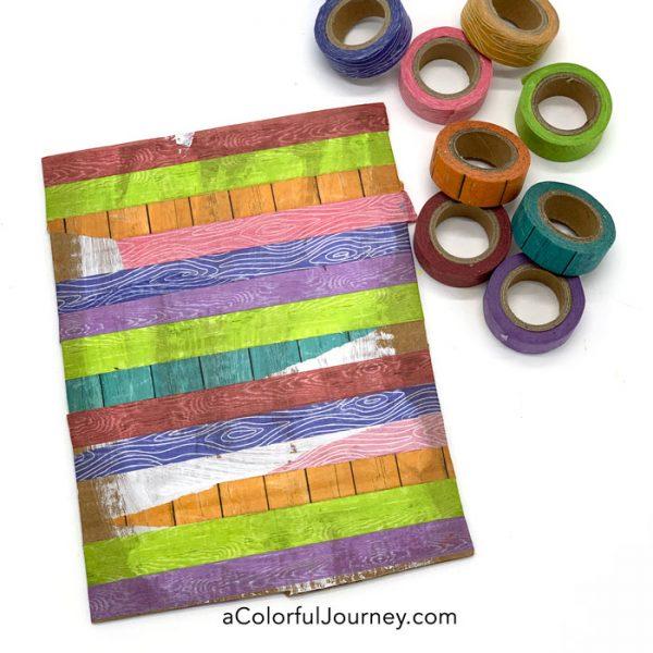 Art journaling on cardboard with washi tape