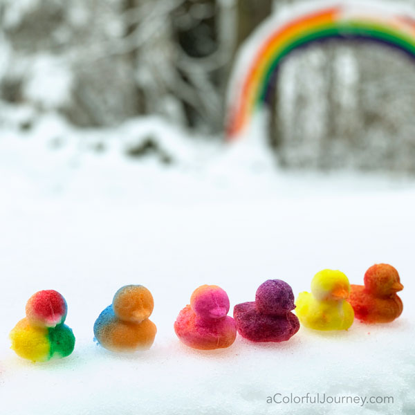 What I learned making snow ducks and how to make them colorful by Carolyn Dube
